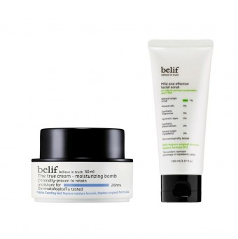 belif Moisturizing Bomb & mild and effective facial scrub