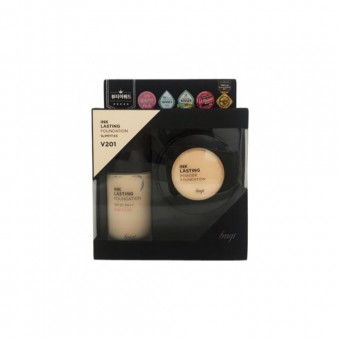 FMGT Inklasting Foundation Slim Fit Ex & Powder Set V201 Apricot Beige